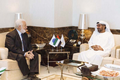 BIE Secretary General Vicente G. Loscertales meets with His Highness Sheikh Ahmed Bin Saeed Al Maktoum, Chairman of the Expo 2020 Dubai Higher Committee and Chairman of Dubai Airports and Emirates Airline