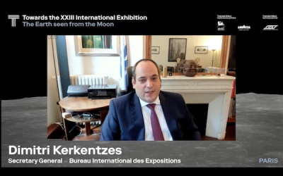 Dimitri S. Kerkentzes, Secretary General of the Bureau International des Expositions (BIE) adresses the second symposium for the XXIII Triennale di Milano