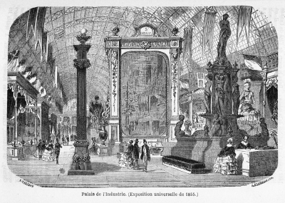 Illustration of the interior of the Palais de l'Industrie, featuring the world's largest mirror by Saint Gobain
