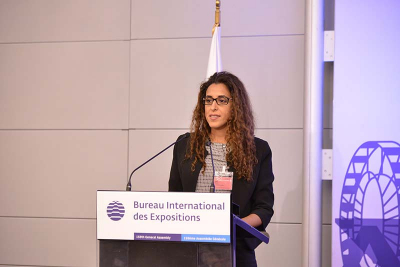 Hanim Dur, of Expo 2016 Antalya, addresses the 159th General Assembly of the BIE