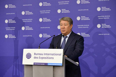 Akhmetzhan Yessimov, Chairman of the Board of Astana Expo 2017 National Company, addressing the 160th General Assembly of the BIE