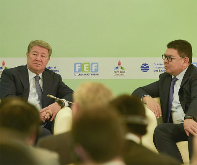Akhmentzhan Yessivmov, Chairman of the Board of Astana Expo 2017 National Company and the Minister of Energy of the Republic of Kazakhstan, Kanat Bozumbayev.