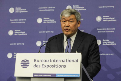 Rapil Zhoshybayev, the Commissioner of Expo 2017, addressing the 160th General Assembly of the BIE